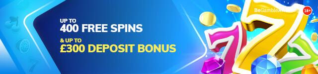 Up to £400 free spins & up to £300 deposit bonus
